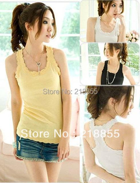 2013 New Fashion Hot Sale Free Shipping,Lady Sexy Crew Neck Sleeveless Shirt Top,100% Cotton+Lace Vest Camisole,Women's Tank Top