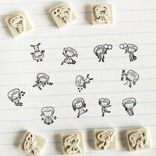 12pcs lot F DIY Scrapbooking Vintage Wood Girl and Boy Stamps Decoration Creative Gift Labels Indexes
