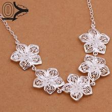 Christmas Gift Silver Plated Necklace & Pendant,Fashion Jewelry Necklace Women,Hollow Five Flowers Necklace Silver Lady Kolye(China (Mainland))