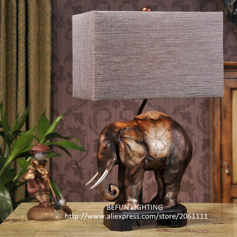 creative unique resin elephant lamp base cloth lampshade bedroom lighting e27 decorating hot sale nightstand lamps range bedroom furniture