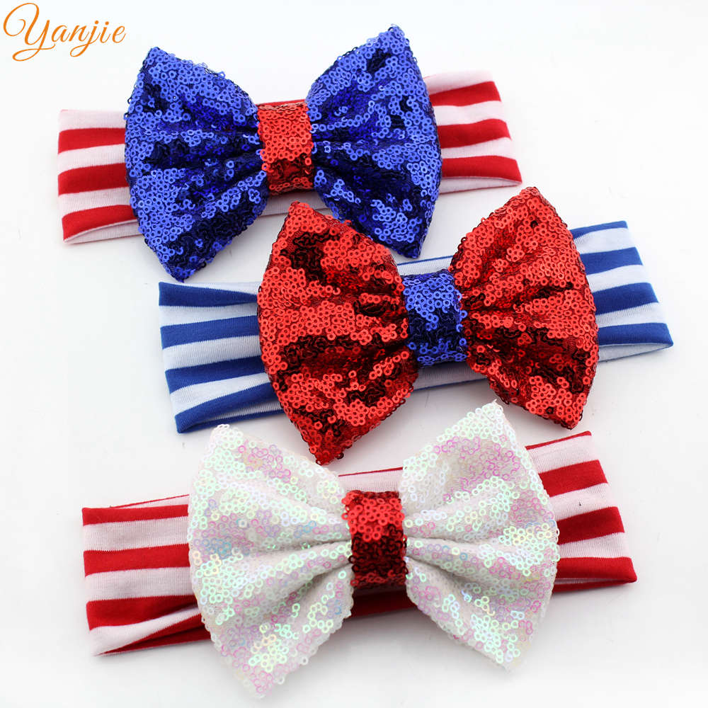 12pcs/lot Hot-sale European Toddler Sequins Bow Striped Stretchy Headband 2016 New Arrival Funky Baby Girl DIY Hair Accessories(China (Mainland))