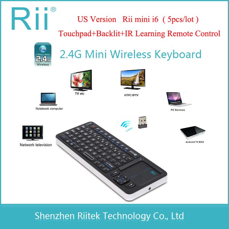 Original Rii mini i6 k06 Wireless Keyboard Touchpad IR Learing Remote Control Backlit Keybord for Mini PC Andorid TV Box Tablet(China (Mainland))