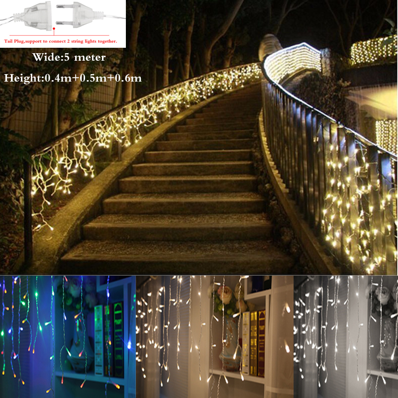 1Set 5M Droop 0.4m/ 0.5m/0.6m curtain icicle string lights led fairy lights Christmas lamps Icicle Lights Xmas Wedding Party(China (Mainland))