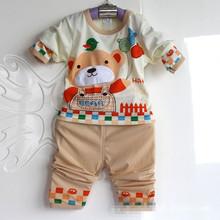 Free Shipping 2014 New Cotton Baby Boy Girl Kids Sleepwear Suits Toddler Tartoon Long Sleeve Pajama