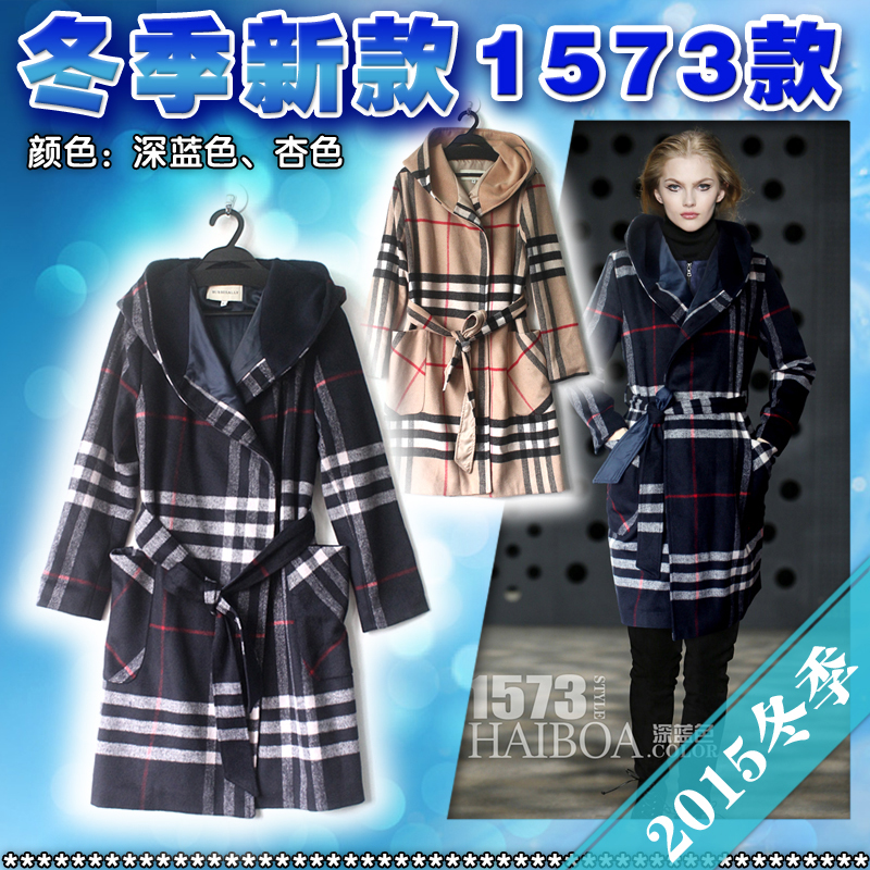 Здесь можно купить  Elegant Coat 2016 Europe Brand New Slim With Belt Turn Down Collar Aristocratic Elegant Khaki/Black Plaid Coat  Одежда и аксессуары