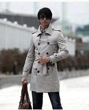 Grey Men's clothing 2015 autumn jacket casual outerwear thin long coat men spring and autumn mens trench coat for men overcoat(China (Mainland))