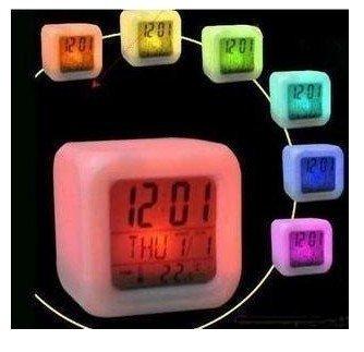 Free shipping Seven color transform natural sound alarm clock ,mood alarm clock/LED electric clock,magic LED alarm colock(China (Mainland))