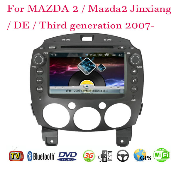 2 Din Car DVD Player Fit MAZDA 2 / Mazda2 Jinxiang / DE / Third generation 2007 2008 2009 2010 2011 2012 2013 2014 GPS 3G Radio(China (Mainland))
