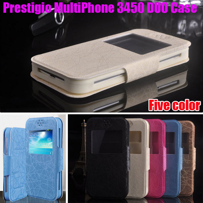 High Quality Luxury for Prestigio MultiPhone 3450 DUO case PU Leather Flip Stand Universal Case with view window Cover F3(China (Mainland))