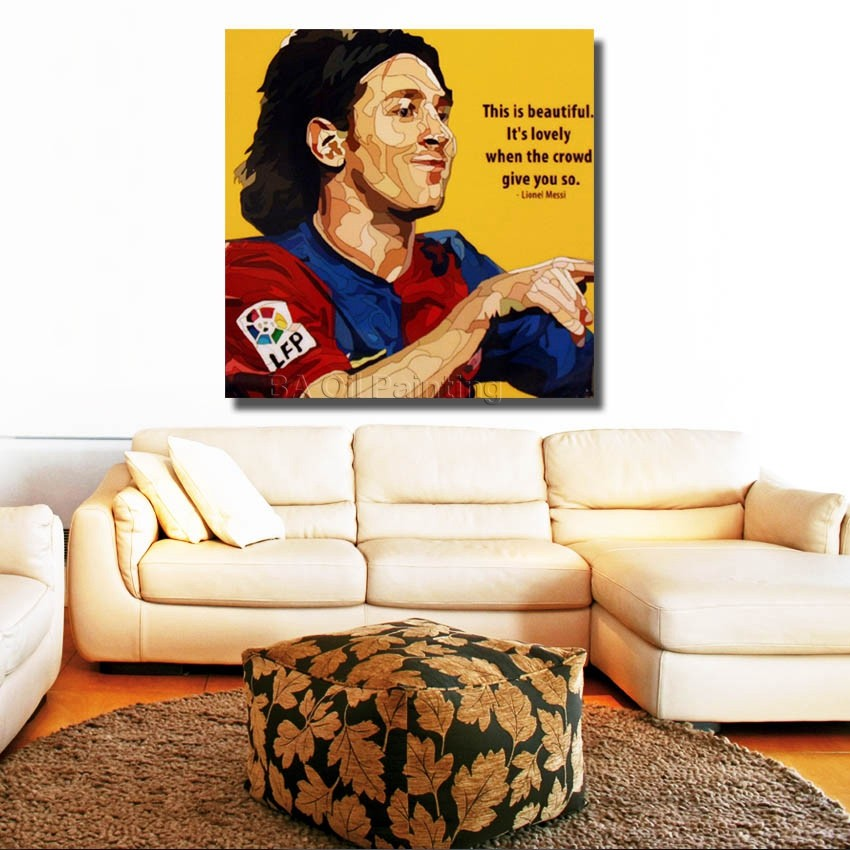Lionel Messi Barcelona Football Star Poster ,With Framed 100% Handmade Canvas Oil Painting Wall Art, Ready To Hang Canvas Art(China (Mainland))