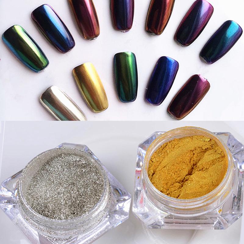 1g/Box Shinning Mirror Nail Glitter Powder Gold/Sliver Nail Art Manicure Chrome Pigment Glitters(China (Mainland))
