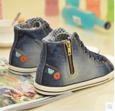 Sneaker 2015 Summer Denim Canvas Shoes Solid Color Shoes Female Girls Shoes Flats  Pure Color Lace-up Zipper Flower Shoes(China (Mainland))