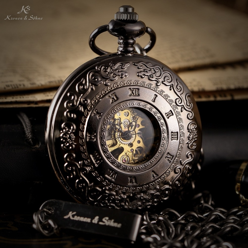 KS Retro Skeleton Alloy Case Copper Key Style Roman Dial Luxury Case Male Clock Mechanical Hand