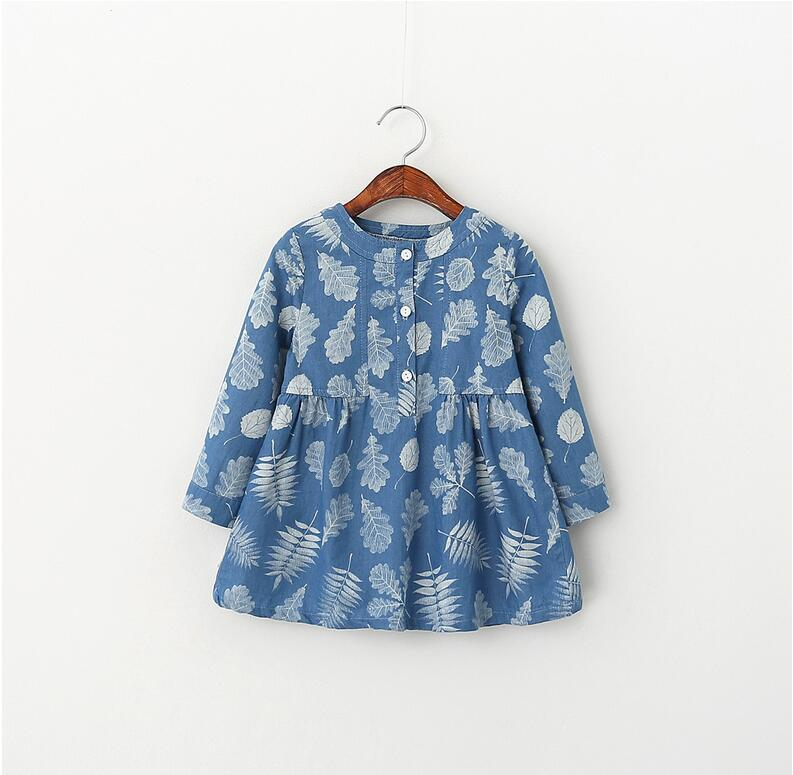 51881537 2016 New Spring Baby Girls Blouses Denim Pinting Leaves Full Sleeve Tops Clothes Lolita