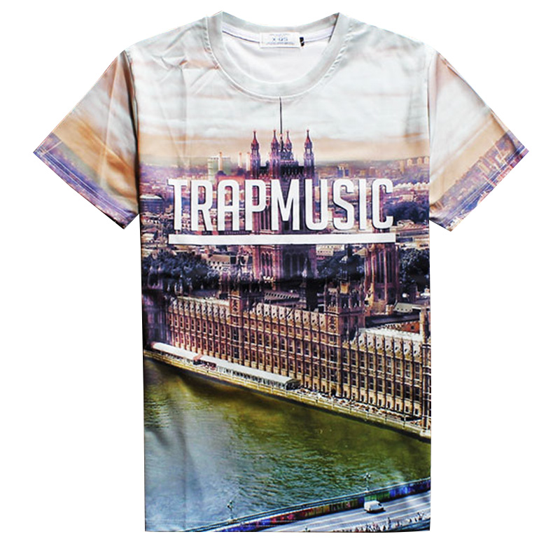 2016 Trendy 3d t shirts Urban Landscape T shirt summer men/women short sleeve TRAPMUSIC tee shirts free shipping(China (Mainland))