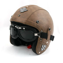 2015 disassemble Harley Rider KCO motorcycle DOT open face ABS leather helmet vintage classic visor scooter goggles men women(China (Mainland))