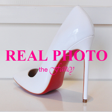 REAL PHOTO High Heels Red Bottom Sole Shoes Pumps Pointed Toe Patent genuine Leather black nude sexy women ladies so kate 120mm(China (Mainland))