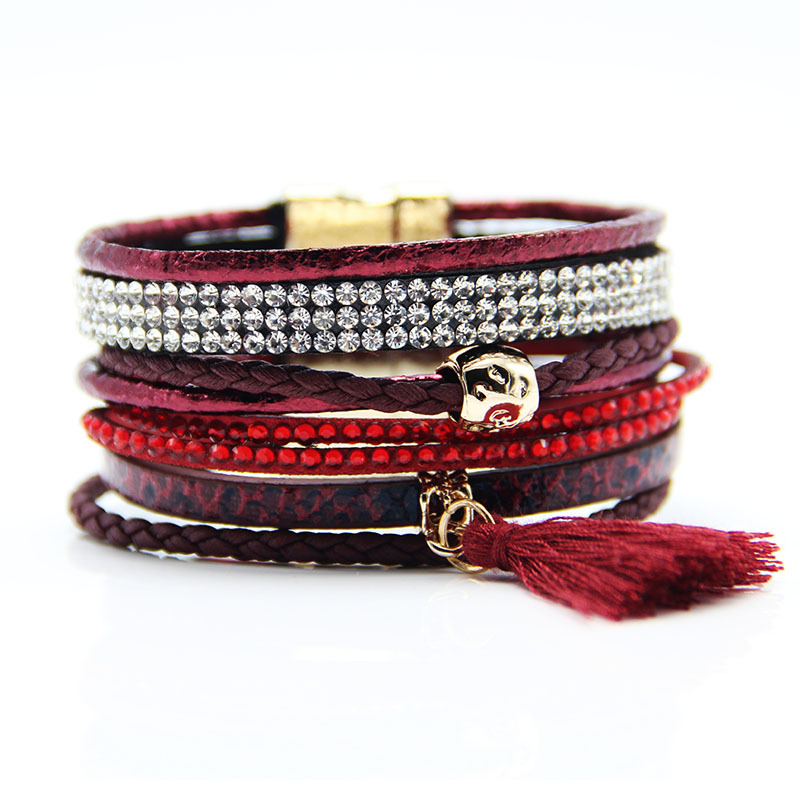 Various fashion styles magnetic leather bracelet women handmade bangles friendship jewelry gift items(China (Mainland))