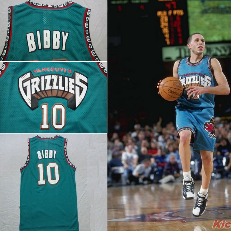 Free Shipping Discount #10 Mike Bibby Vancouver Grizzlies Jersey Rev30 Throwback Basketball Jerseys Best Quality TOP Color Green(China (Mainland))
