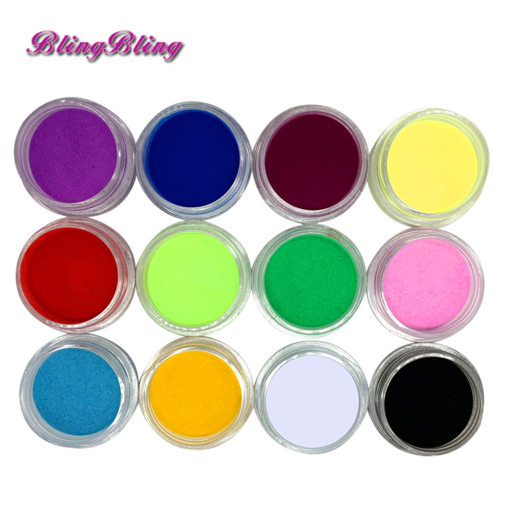 12 Pcs Mix Colors Acrylic Nail Art Dust Powder Decoration for Tips(China (Mainland))