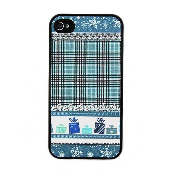 Blue Christmas Stripe Gift Flash Flash Powder Scrub Hard Cover Case for iPhone 4(China (Mainland))