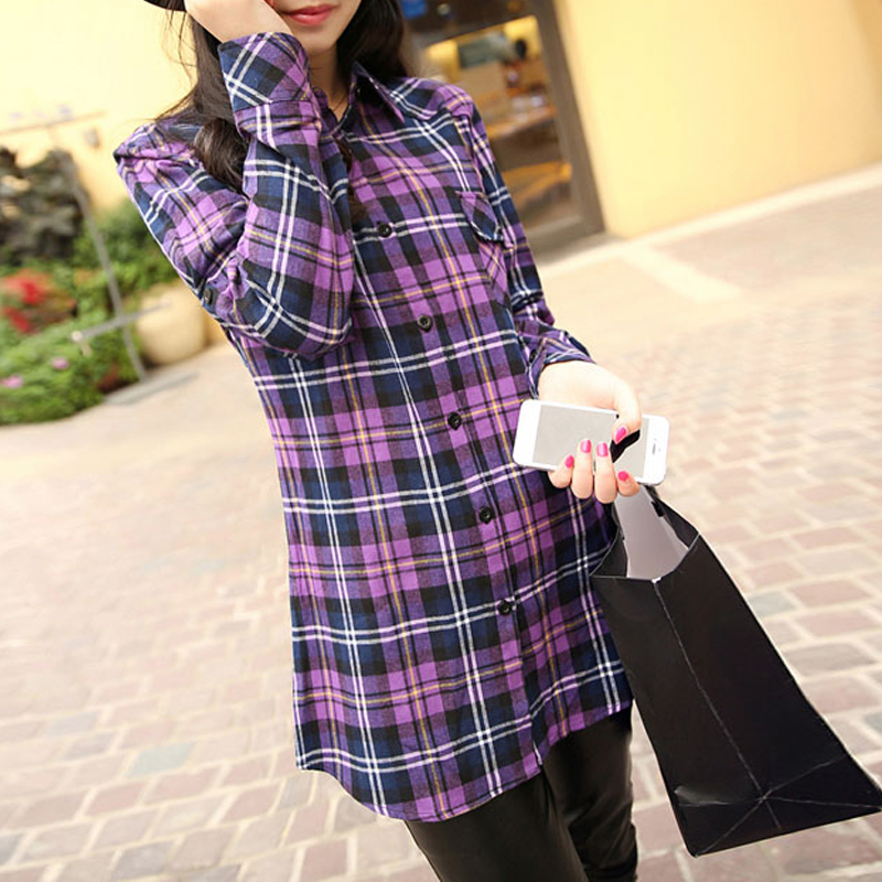 2015 fashion womens tops long sleeve turndown collar slim for Girl in flannel shirt