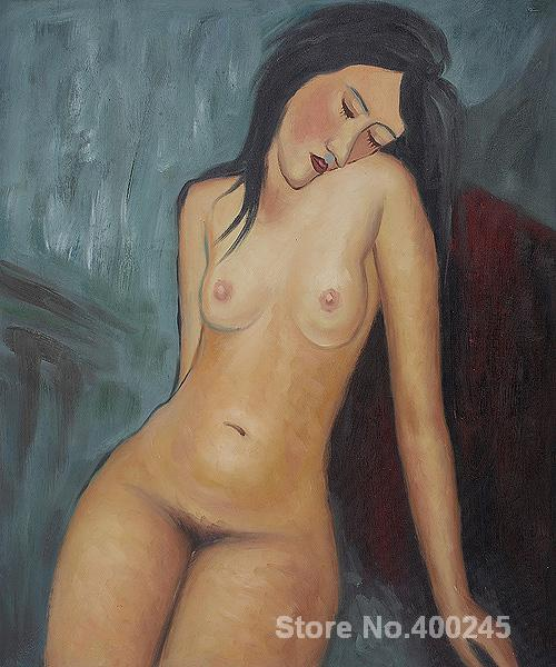 Female Nude-Amedeo Modigliani painting for sale,oil on canvas,Hand-painted,High quality(China (Mainland))