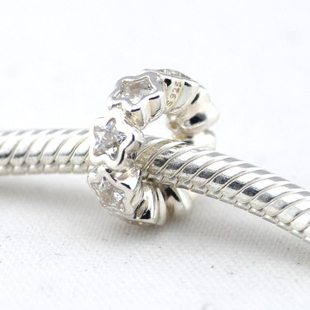 Осень стиль стерлингового серебра 925 CZ звезды спейсерной бусины Fit пандора оригинальный подвески браслеты DIY ювелирных украшений