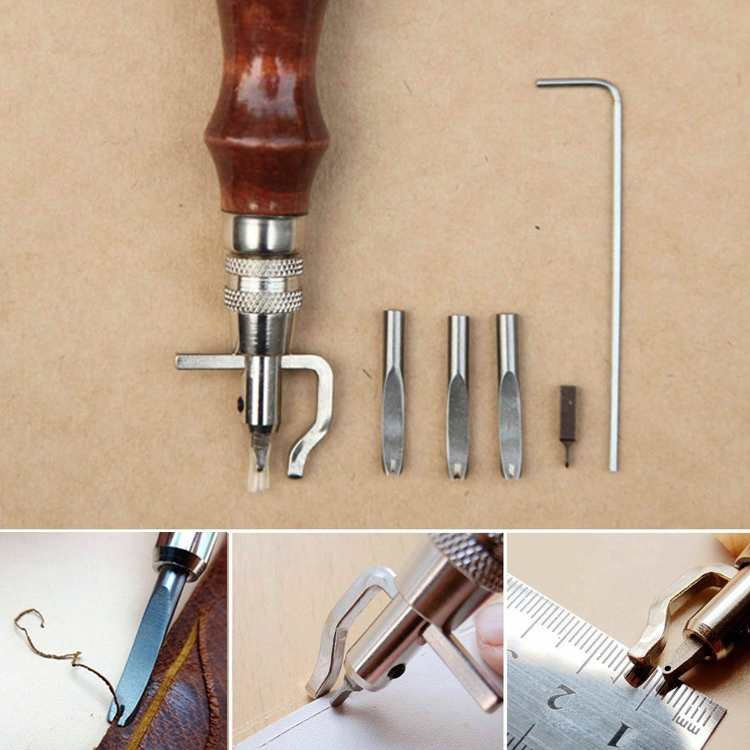5 in 1 Adjustable Leather Edge Stitching Groover Set Crease leather Craft For Handwork Hand Leather Tool(China (Mainland))