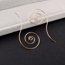 แฟชั่นวงกลมโลหะเกลียวหูผู้หญิง's Gold และ Silver Alloy(China)