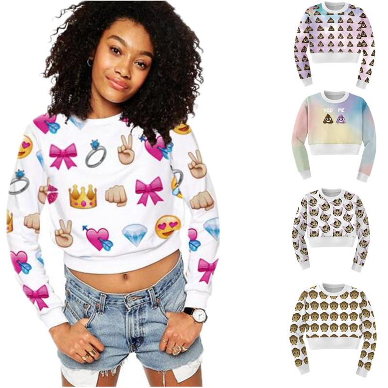 Harajuku Pullover Women Cute Emoji Sweatshirt Ladies Crewneck Crop Tops 3D Long Sleeve Hoodie ...