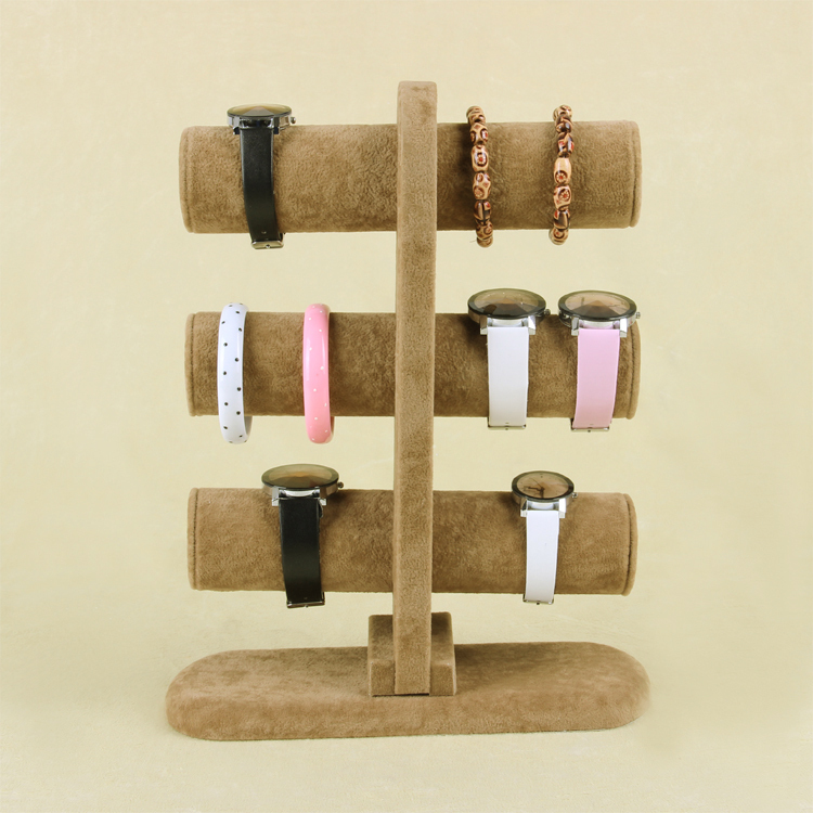 Wholesale High Quality Brown Ice Velvet Bangle Watch Bracelet Display Stand Holder T-Bar 3 Tiers(China (Mainland))