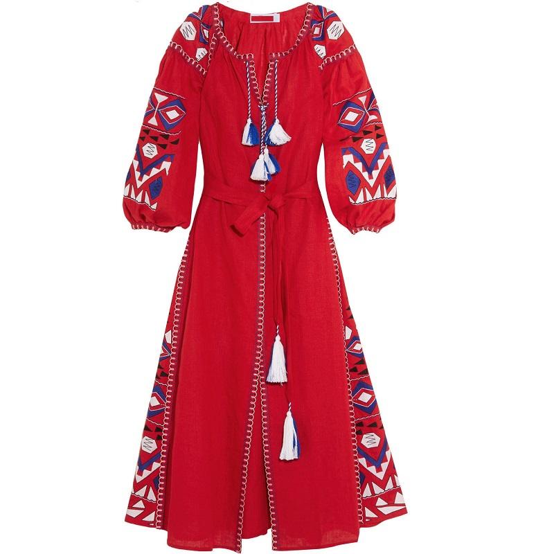 Plus size boho red blue bohemian embroidery dress long