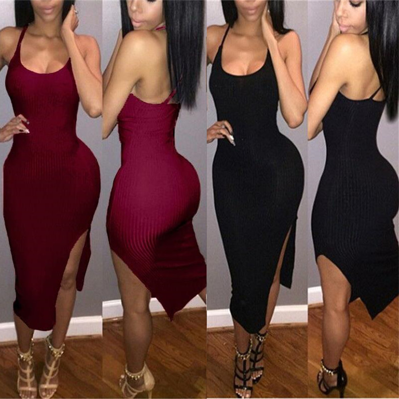 2016 fashion women sheath low cut dress sexy side split backless sleeveless solid casual elegant womens pencil dresses TM909(China (Mainland))