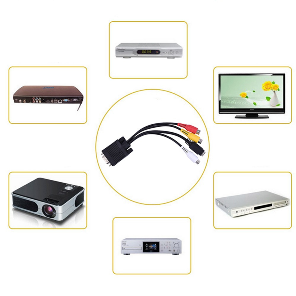 VGA to 3 RCA D-Sub VGA SVGA to S-Video 3 RCA TV AV Converter Cable Adapter M/F Connector for PC Computer Laptop(China (Mainland))