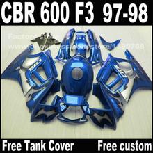 Free customize Motorcycle parts for HONDA CBR 600 F3 fairings 1997 1998 CBR600 F3 97 98 blue fairing kit + Tank cover YQ1(China (Mainland))