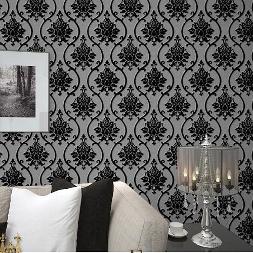 Luxury Living Room Wall Decor : Black velvet flock wallpaper luxury damask wall paper