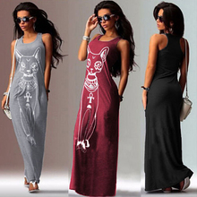 Vestidos New 2016 Cat Printed Maxi Dress Summer Women Dress Bodycon Summer Dress Vestido Plus Size Women Clothing Robe(China (Mainland))
