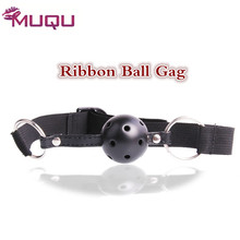 Quality Ribbon Mouth Ball Gag Black red pink ball plug sex toys for women erotic toys adult bdsm Game sex products