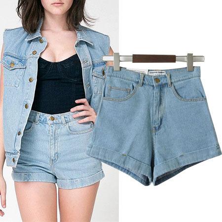 High Waist curling Denim Shorts Fashion 2015 Summer Spring Sexy Hot shorts Women s Clothing Trousers