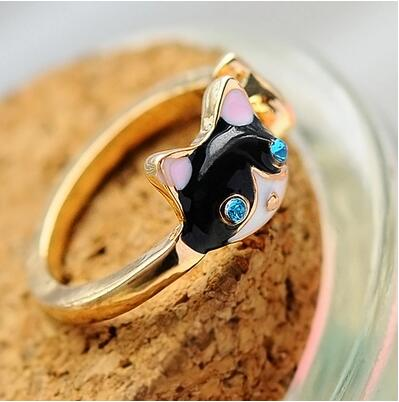 Fashion Jewelry Punk Gold Plated Enamel Rhinestone Eye Cat Midi Mid Ring Super Cute Personalized Mini Ring for Women Men(China (Mainland))