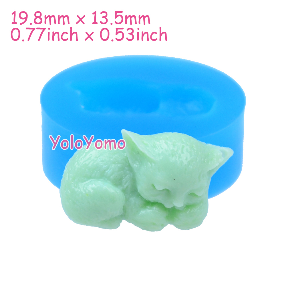 D006YL 19.8mm Cute Cat Silicone Mould - Animal Mold Cupcake Topper Decorative,Chocolate, Fondant, Resin Clay, Candle, Icing Mold(China (Mainland))