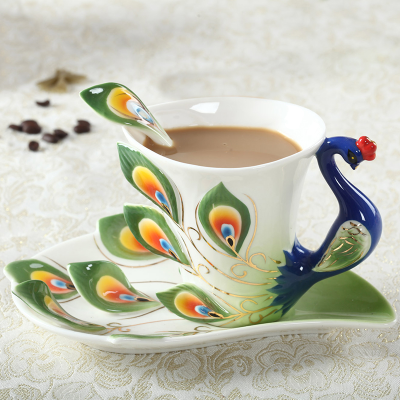 Ceramic Peacock Coffee Creative Cup Bone China 3D Color Enamel Porcelain Mug Saucer Spoon Coffee Tea Cups & Saucers Set(China (Mainland))