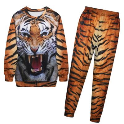 2014 New Sport Suit Women Hoodies Tiger Print Sweatshirt+Pants 3D tiger Print Tracksuit Hoodies Hip Hop Sports Costumes(China (Mainland))