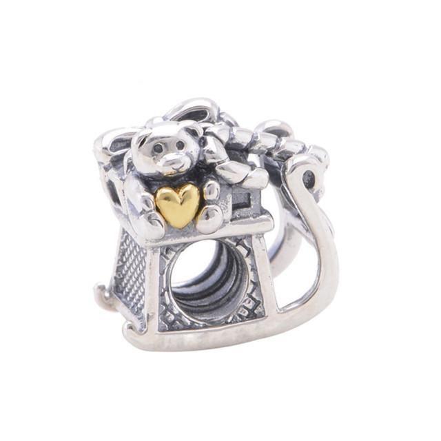 925 серебряные ювелирные изделия животных мини-медведь любовь подвески бусины женщин DIY мода ювелирных подходит для бандуры браслет прямая поставка