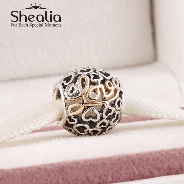 2015 новый стерлингового серебра 925 ажурные шармов сердца с 14 К твердое золото письма любви для известного бренда diy браслет SH0597
