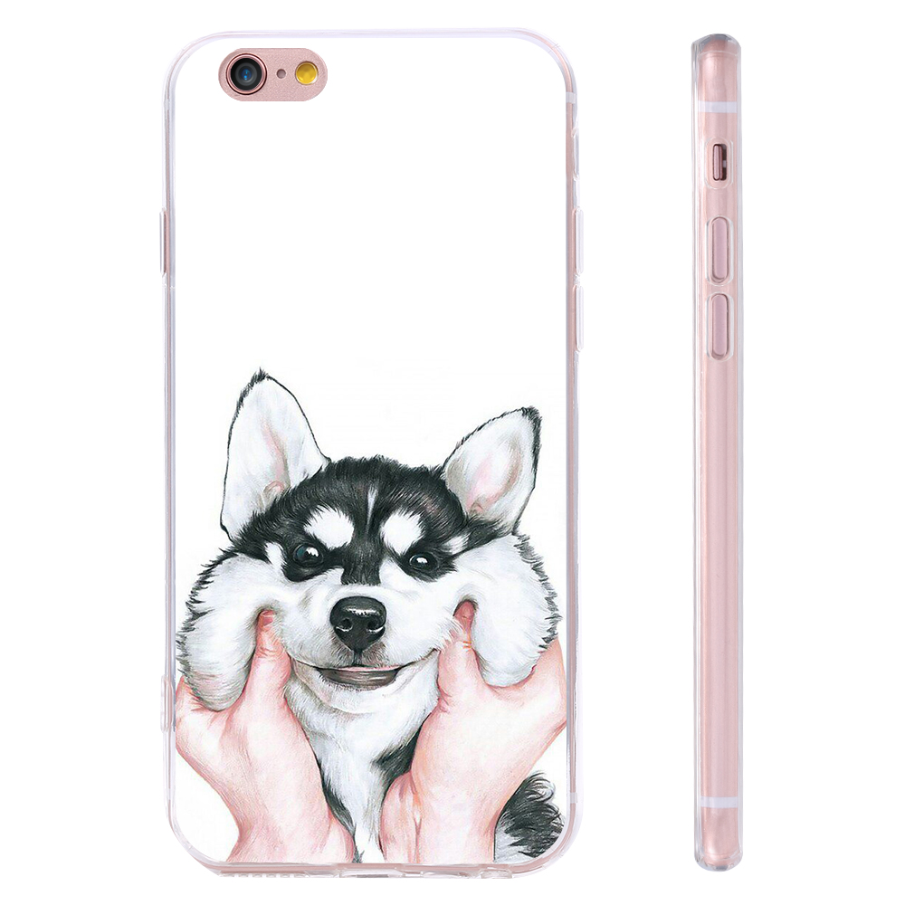 3D Made Painted Cute Husky For iPhone 7 6 6s Plus 5s SE Back Cover For Samssung Galaxy S7&S6 Edge Lovely Animal Phone Case Shell(China (Mainland))