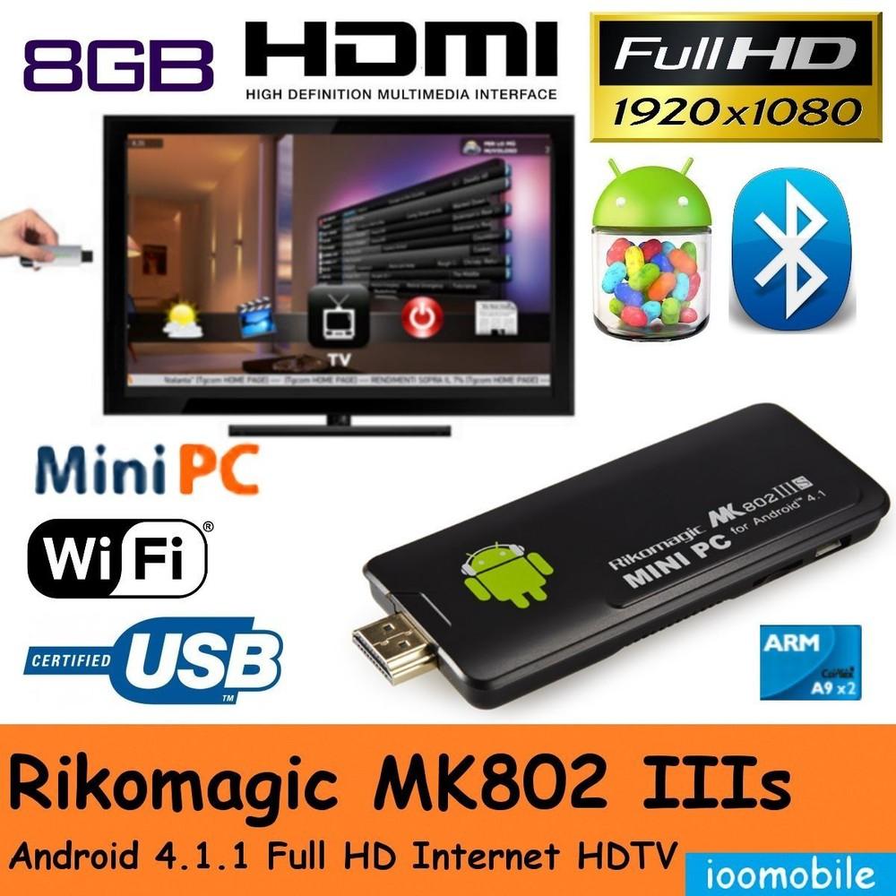 Free shipping,Rikomagic 5th MK802 IIIS Bluetooth Dual Core CPU 8GB Android 4.1.1 Mini PC HD TV(China (Mainland))