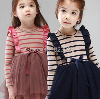 Retail Abby Fish 2014 Autumn girls' striped yarn dress, cotton princessdress, fashion children clothing top quality(China (Mainland))