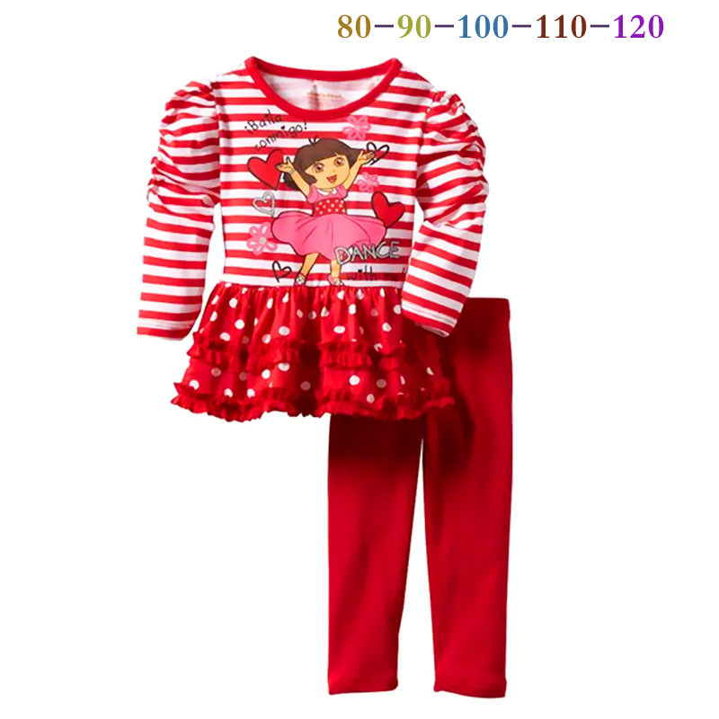 New Arrival 2014 autumn The Explorer Dora Baby Girls casual Suits Fresh Lovely Cartoon Red stripe Shirt +Pants(China (Mainland))